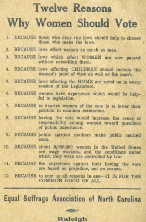 Twelve Reasons Why Women Should Vote