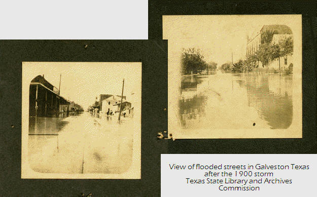 View of flooded streets in Galveston Texas after the 1900 storm