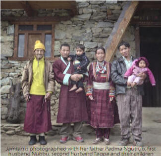 Jamtan is photographed with her father Padma Ngutrub, first husband Nubbu, second husband Tagpa and their children