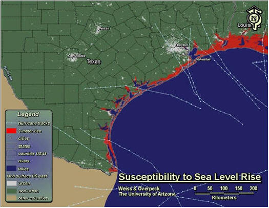 The Texas Coast after a 3-foot rise in sea level
